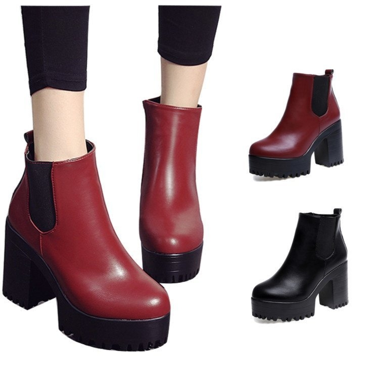 1babbf61d2 Fashion WOMENS LADIES CHELSEA ANKLE BOOTS CHUNKY PLATFORMS BLOCK ...