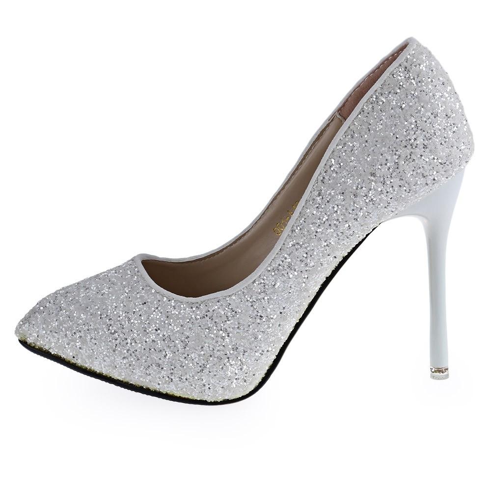 GZXianLv Paillette Design High Heel Shoes - White