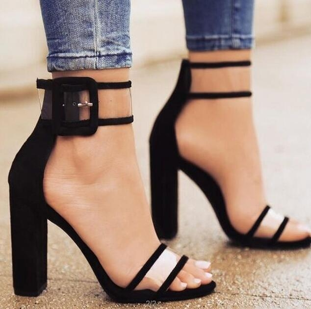 2017 Fashion Hot  Women Sandals Thick High Heels Shoes Sexy Transparent Ankle Sandals for Ladies black uk2.5 2