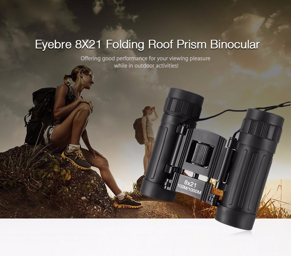 Eyebre 8X21 100M / 1000M Compact Binocular Outdoor Folding Power-view Roof Prism Telescope
