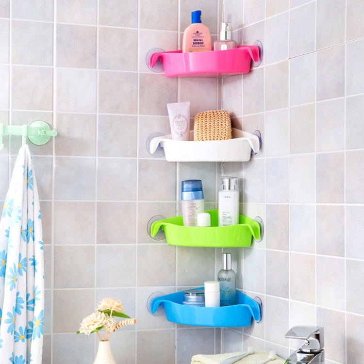 Fantastic Flower Fashion Suction Cup Kitchen Storage Shelf