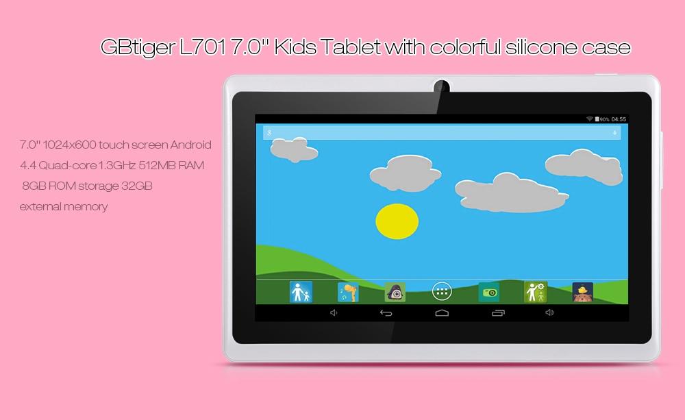 GBtiger L701 Allwinner A33 Android 4.4 7.0 inch Kids Tablet PC Quad Core 1.3GHz 512MB RAM 8GB ROM WiFi Bluetooth Functions ( EU Plug )