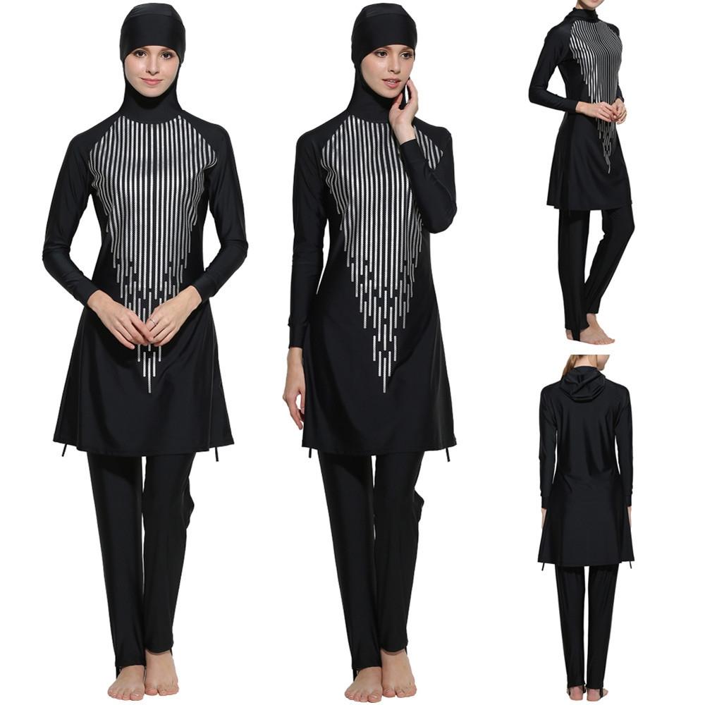 a8f95fdb0d7a7 Fashion Women's Korean-style Lady Islamic Muslim Full Cover Swimwear Modest  Beachwear Swimming Costumes