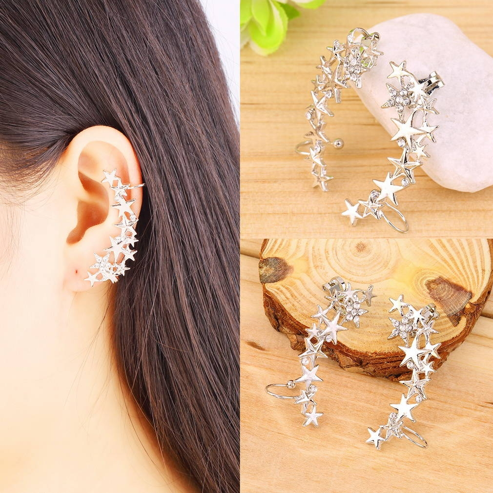 allwin 1 pair fashion star ear bone clip on ear cuff earrings no