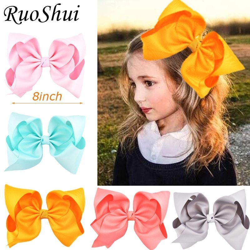 6 Inch 20 pcs//lot mixed  Large Double Layers Hairbow Baby Girls Hair Bows Clips