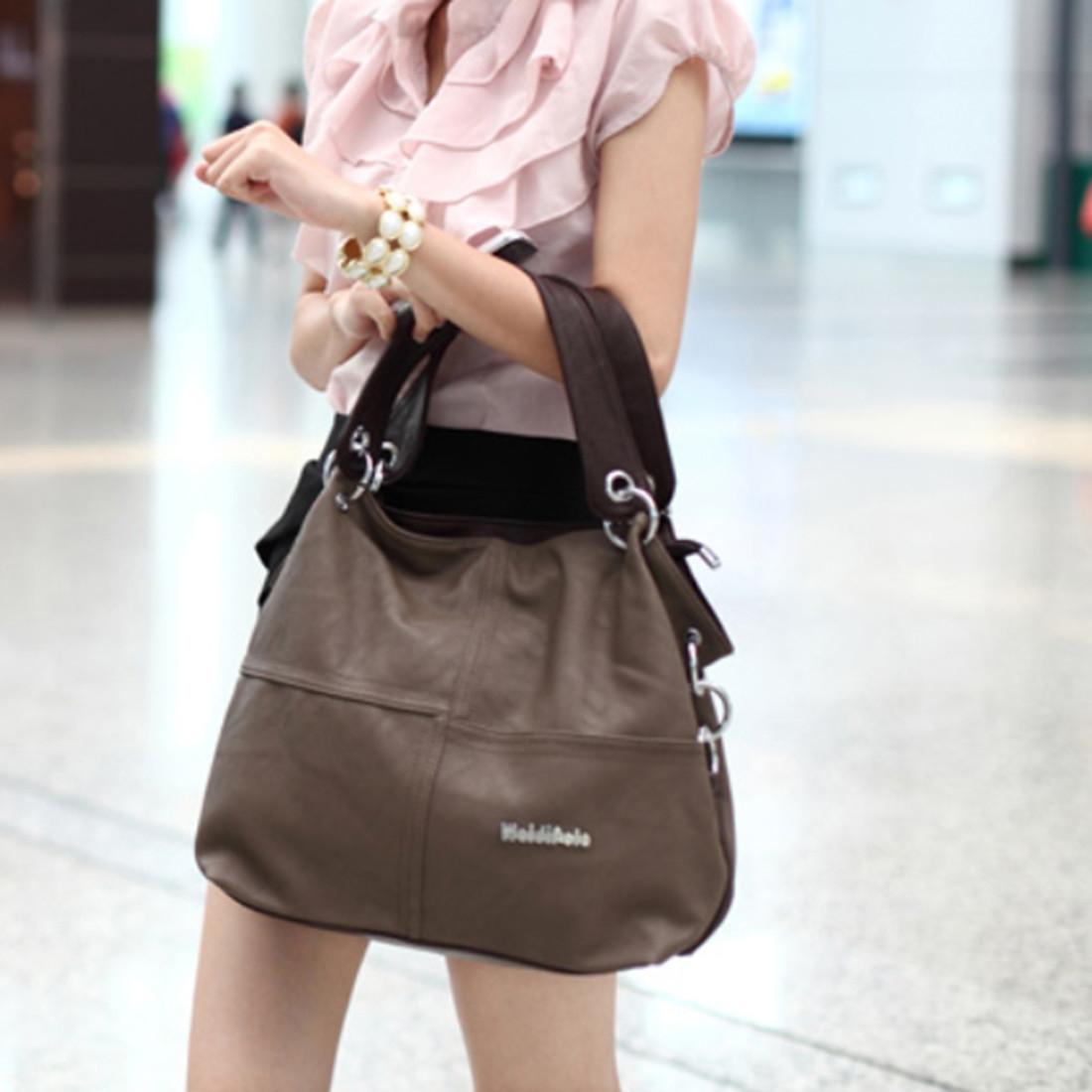 ... WEIDIPOLO Women Stylish Split Joint PU Leather Hobo Bags Crossbody Shoulder Bag Handbag image image