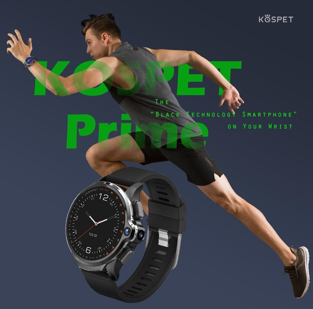 KOSPET Prime 4G Smart Watch Phone 1.6 inch Screen Dual Lens 1260mAh Battery