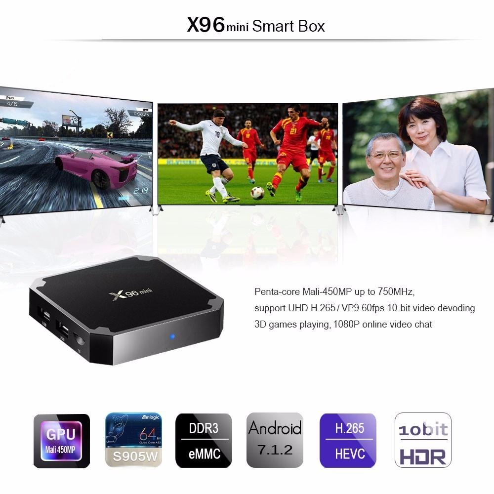 X96mini Android TV Box Digital Player Amlogic S905W Support 2.4GHz 4K x 2K H.265 100M LAN