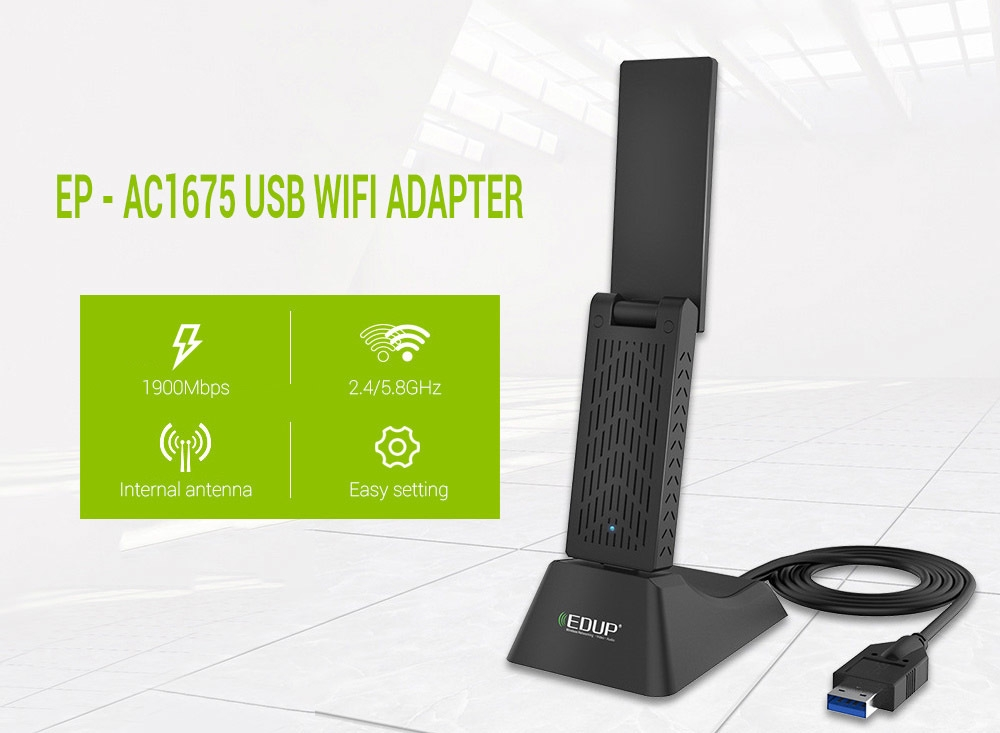 EDUP EP - AC1675 USB WiFi Adapter 1900M Portable Network Router 2.4 / 5.8GHz