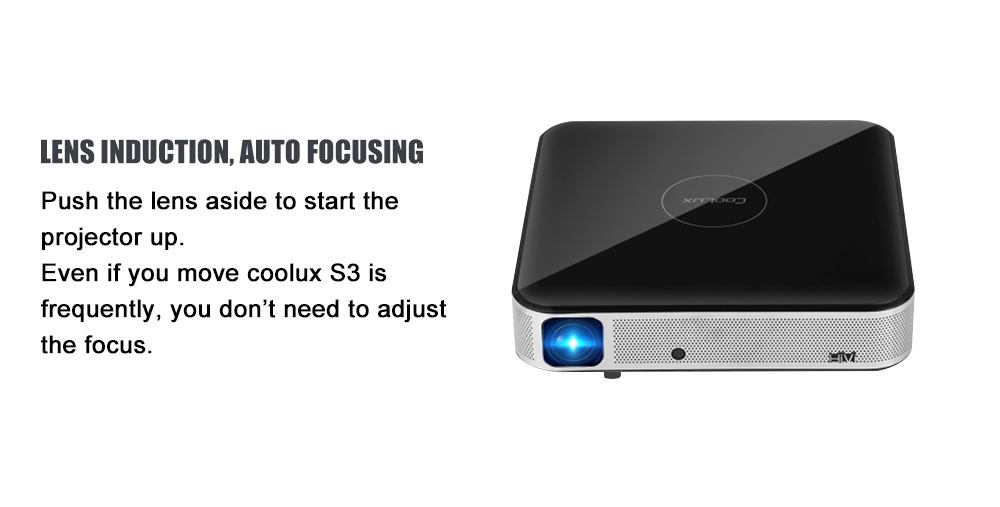 Coolux S3 DLP 900 ANSI Smart Android Home Theater Projector Cortex-A53 / 1500:1 / 1280 x 800 / Auto Focus / Support 4K