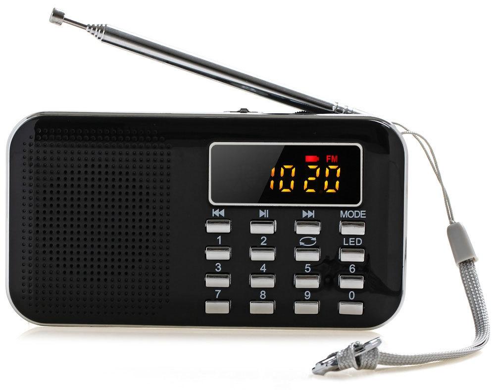 Mini Portable LCD Digital FM Radio Speaker USB TF Card Mp3 Music Player with LED Light