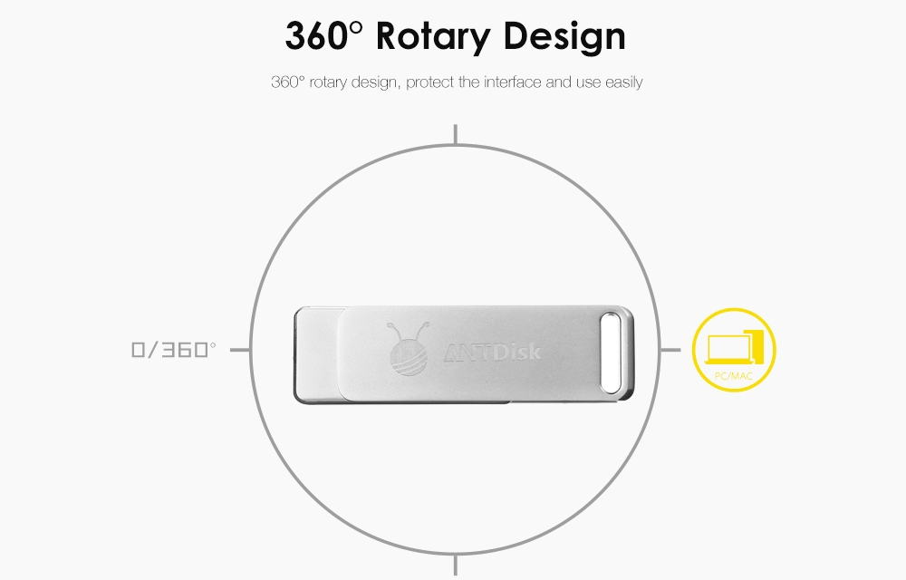 ANTDisk N10 USB Flash Drive USB3.0 Rotary Design Memory Stick
