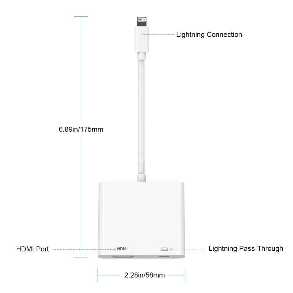 Generic Usb Cable Connector For Motors Iphone To Hdmi