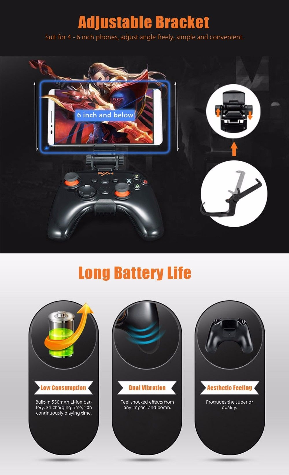 PXN 9608 2.4GHz Wireless Bluetooth V4.0 Removable Shell Joystick for Android Phone with Cover