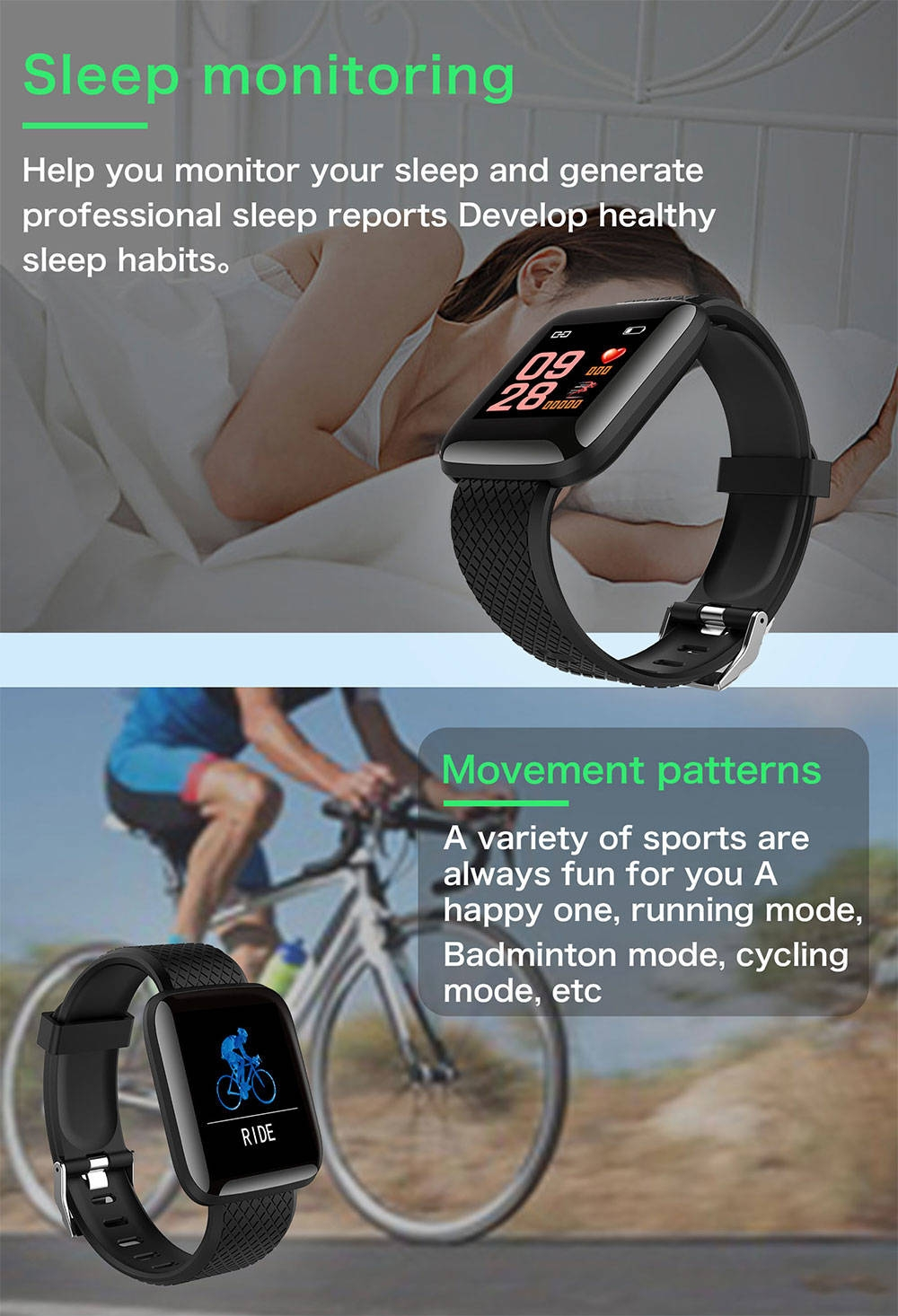 4-130442- Smart Bracelet Blood Pressure Measurement Waterproof Fitness Tracker Watch Heart Rate Monitor Pedometer Smart Band Women Men