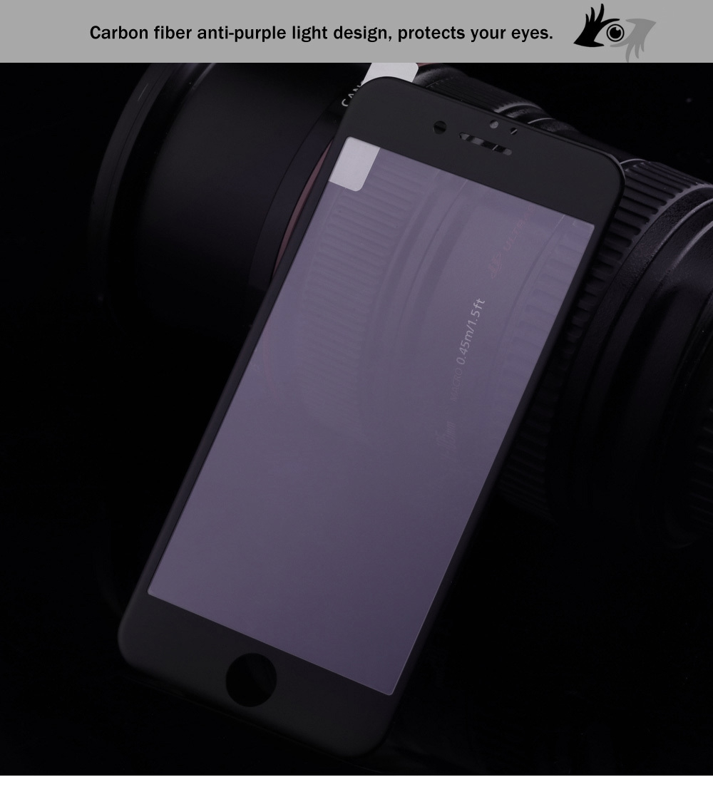 3D Tempered Glass Carbon Fiber Anti-purple Light Shatterproof Screen Protective Film for iPhone 6 / 6S 0.26mm