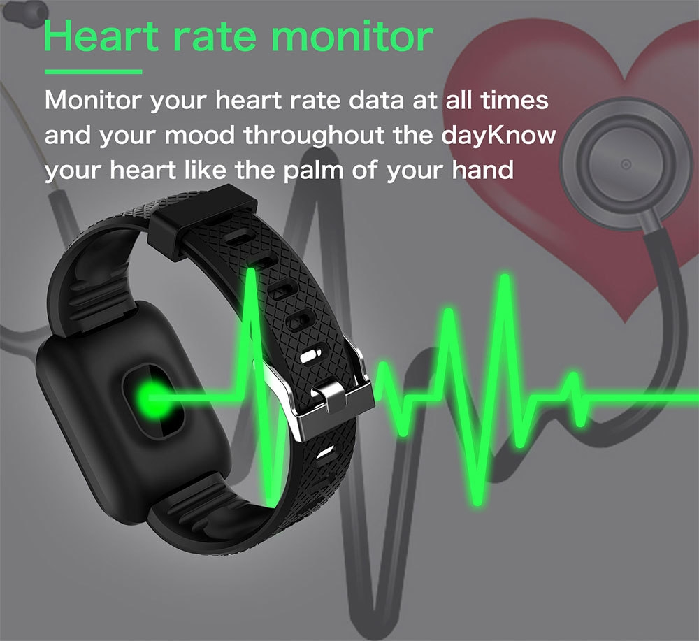 3-130442- Smart Bracelet Blood Pressure Measurement Waterproof Fitness Tracker Watch Heart Rate Monitor Pedometer Smart Band Women Men