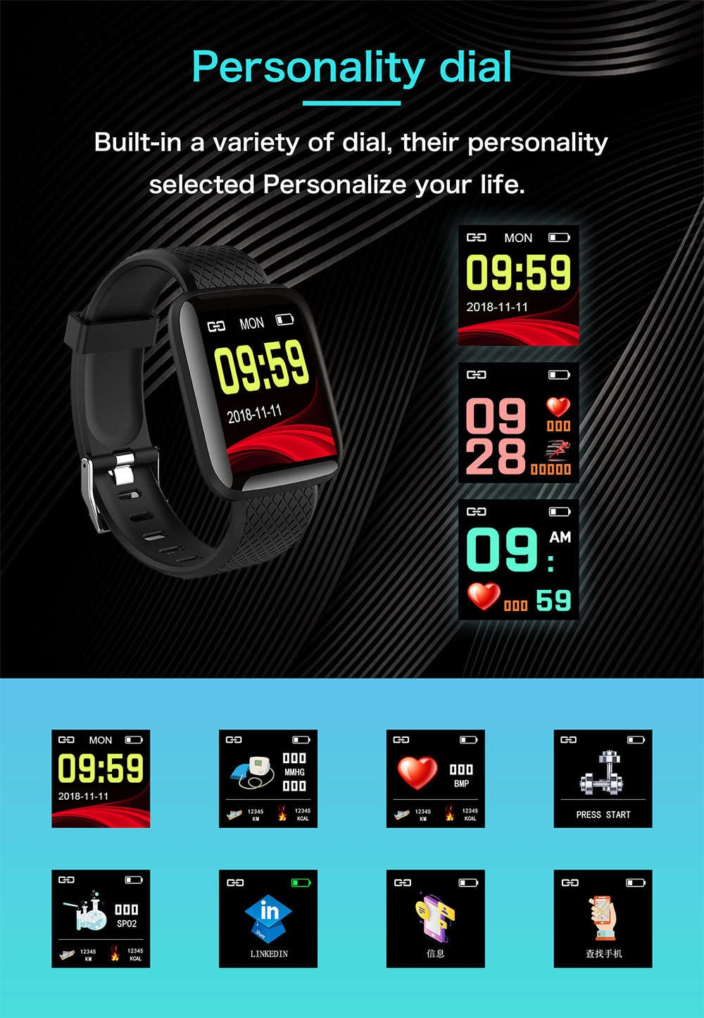 7-130442- Smart Bracelet Blood Pressure Measurement Waterproof Fitness Tracker Watch Heart Rate Monitor Pedometer Smart Band Women Men