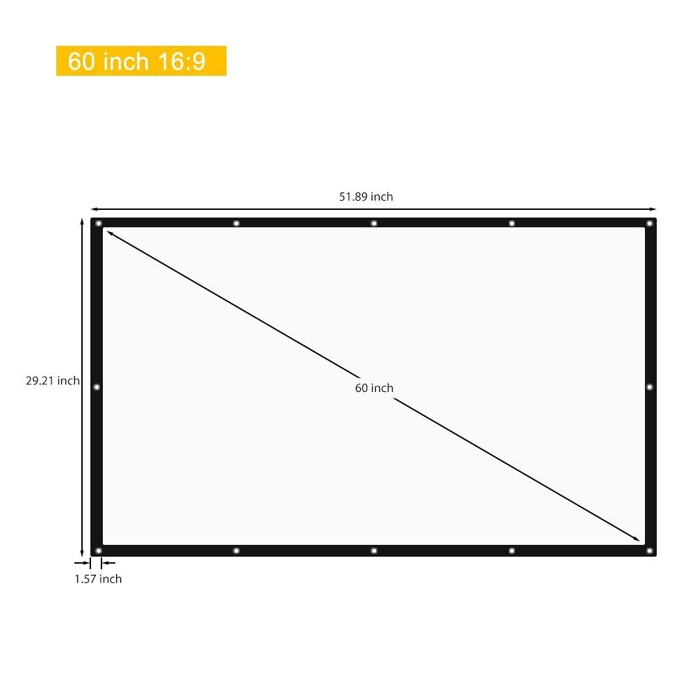 Generic 60 Inch 16:9 Collapsible White Portable Projector Screen White price in nigeria
