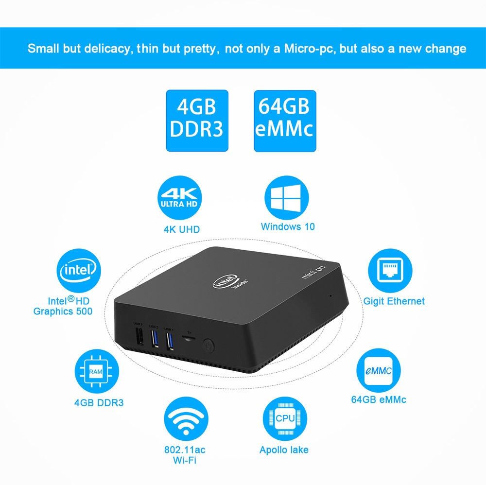 AK5 N3450 CPU Mini PC Intel HD Graphics 500 GPU 4GB RAM + 64GB ROM / 1000Mbps / BT4.1