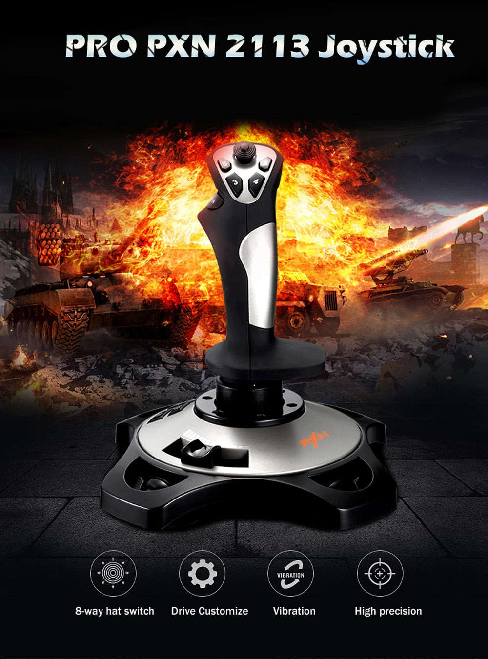 PXN PRO 2113 Wired 4 Axles Flying Game Joystick Simulator Controller