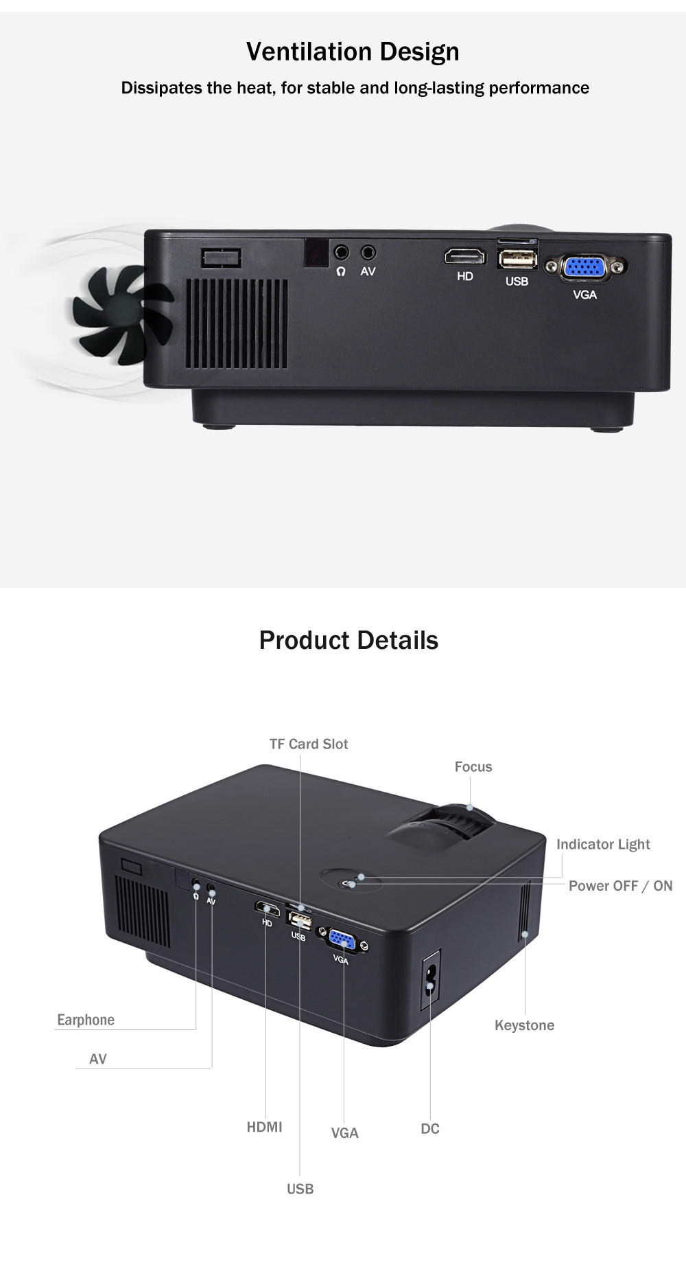 E08 LCD Projector 2500 Lumens 800 x 480 Pixels 1080P HD Media Player