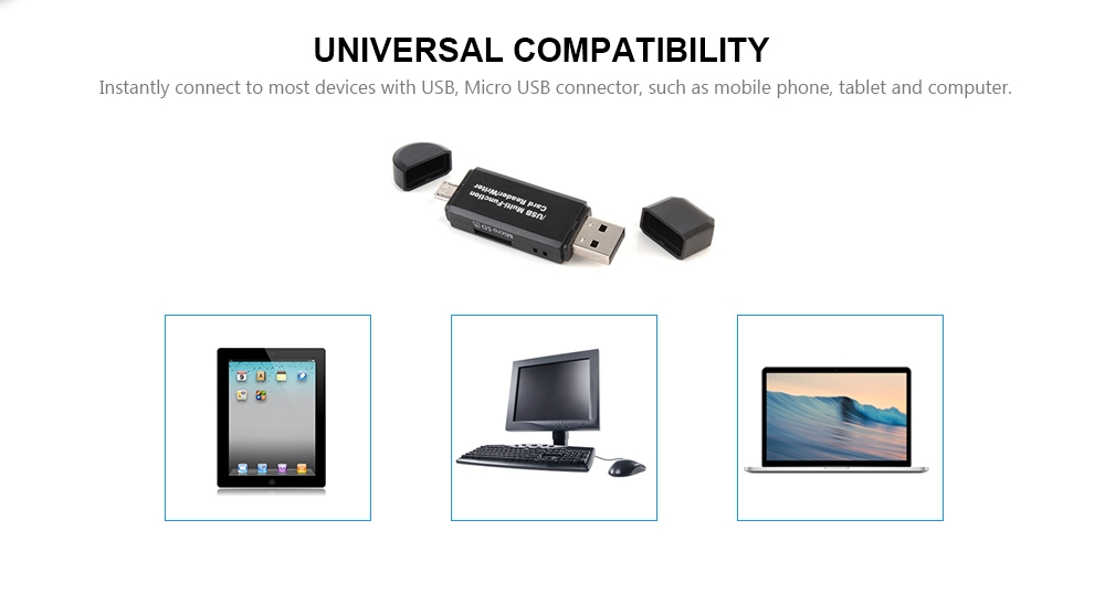 2 in 1 Multifunction SD / TF OTG Card Reader for USB / Micro USB Devices