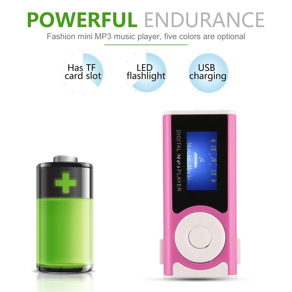 Generic TA MX 803 Digital MP3 Player With Clip LCD Screen & LED Light Stereo Super Bass  pink price in nigeria