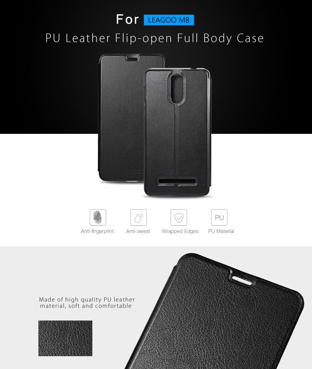 OCUBE PU Leather Full Body Phone Protective Case Foldable Stand for LEAGOO M8