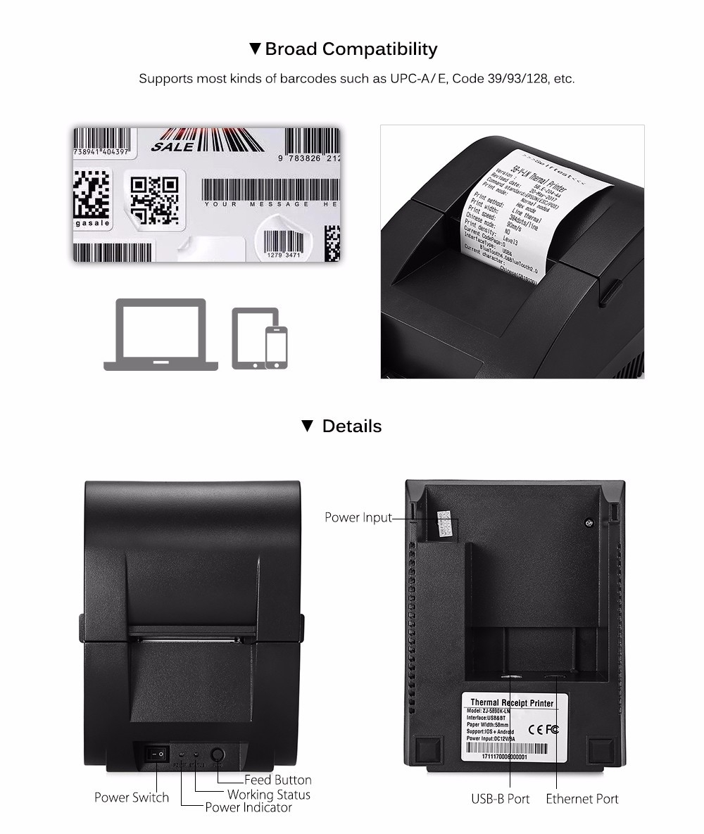 Generic ZJIANG ZJ - 5890K - LN Portable Printer Bluetooth Thermal Receipt  Machine With USB Port For Android IOS