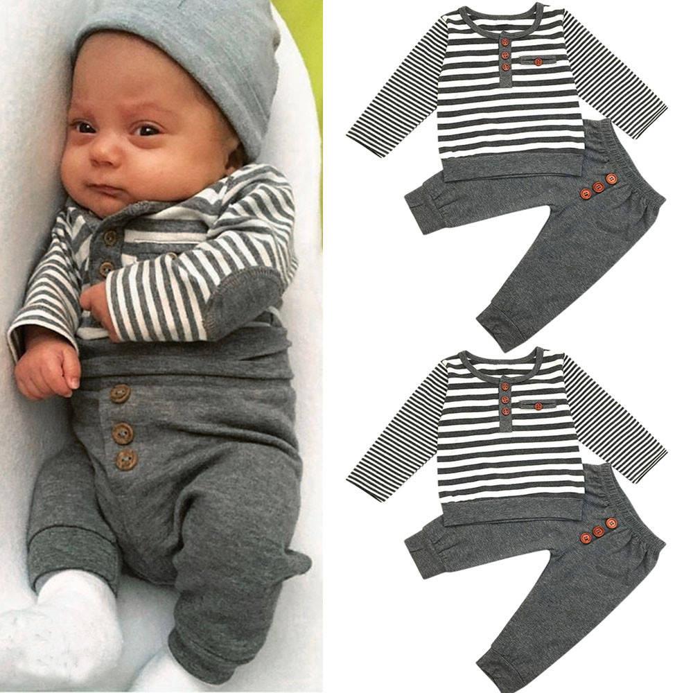 4d2f4e3c2a094 Fashion Newborn Baby Boys Long Sleeves Stripe Tops+Pants Infant ...