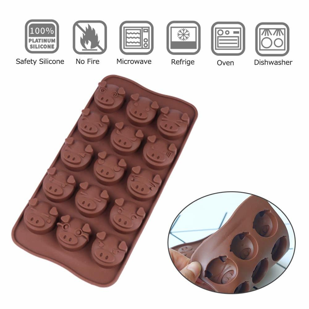 15 Holes Pig Shaped Silicone Candy Fondant Chocolate Mould Cookies Cake DIY Mold