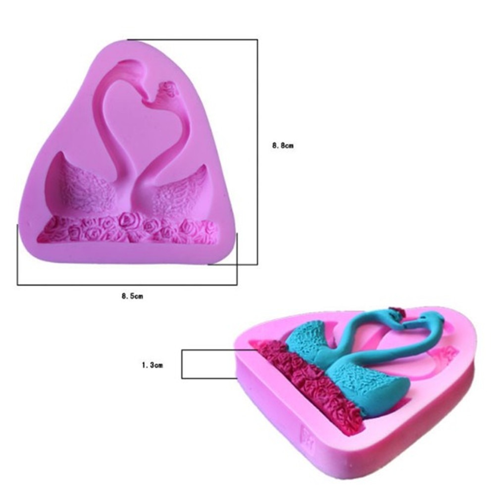 Silicone Double Swan Cake Skirt Candy Model