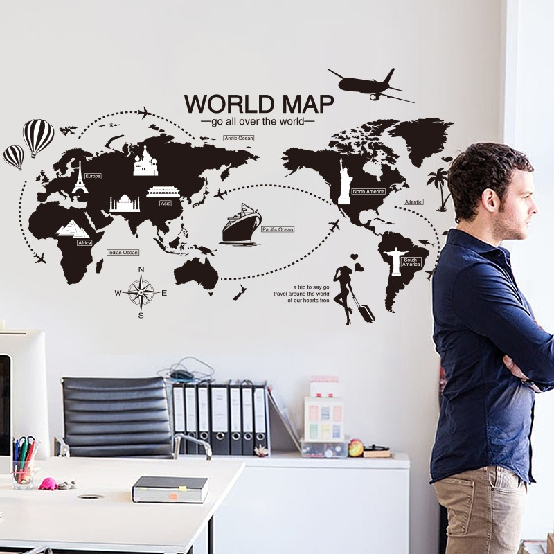 1a01773caf Generic World Map Wall Sticker Office Living Room Decorations Vinyl Wall  Stickers Home Decor Removable PVC Art Quotes Poster 233494 Color-0
