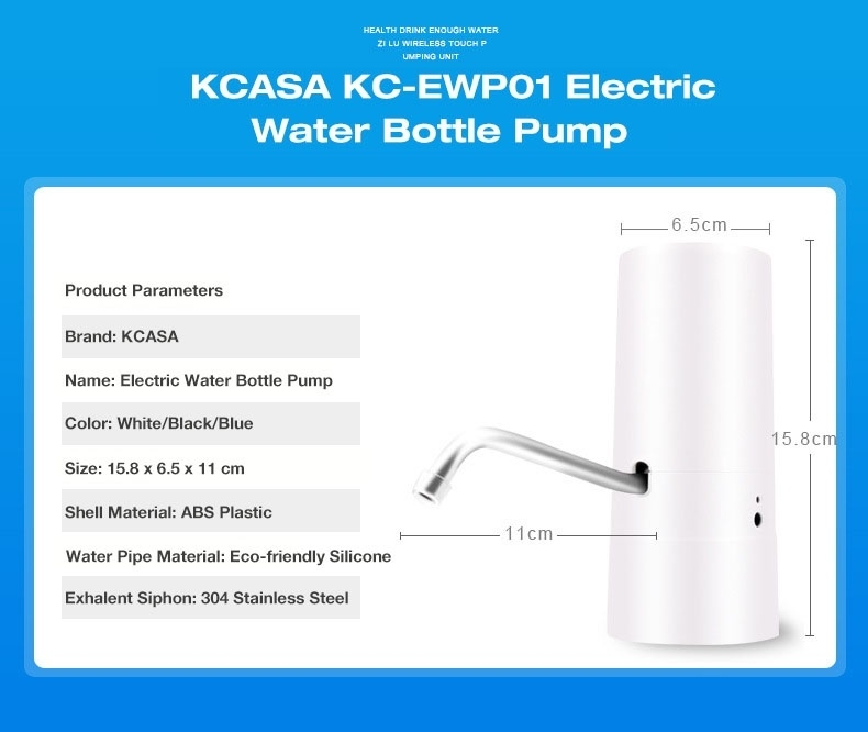 KCASA KC-EWP01 Electric Water Bottle Pump Dispenser Rechargeable Drinking Water Bottles Suction Unit Touch Sensor Water Dispenser