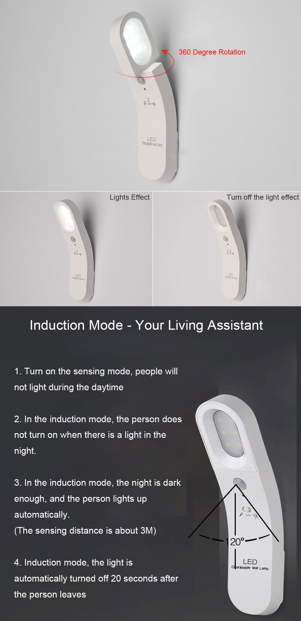 Corridor Night Light USB Charging LED Human Body Induction Wall Lamp