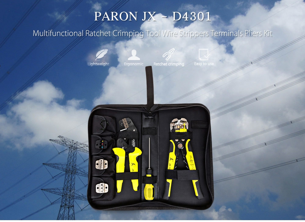 PARON JX - D4301 Multifunctional Ratchet Crimping Tool Wire Strippers Terminals Pliers Kit