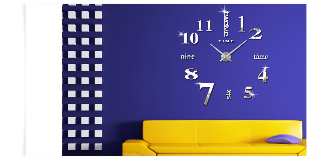 M.Sparkling Large 3D Mirror Effect Sticker DIY Digital Wall Clock Home Decoration