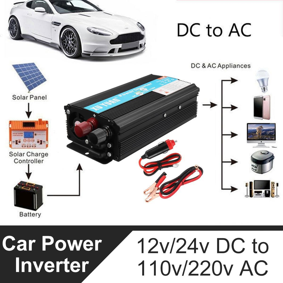 Buy Generic Solar Power Inverter 4000w Led 12v Dc To 220v Ac Sine Circuit With Battery Charging Function Image