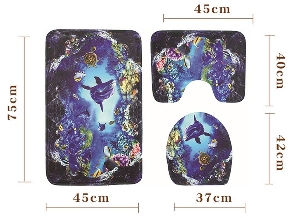 Ocean World Printed Toilet Mat Bathroom Anti-slip Carpet Set