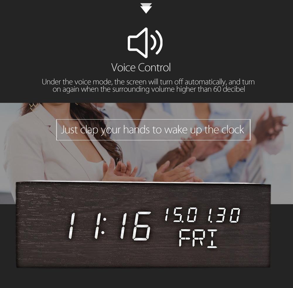 Creative Wooden LED Clock Temperature Display Perpetual Calendar