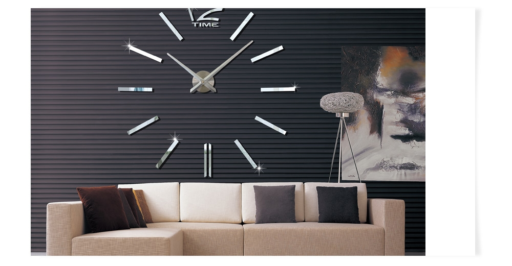 M.Sparkling Large 3D Mirror Effect Sticker DIY Quartz Wall Clock