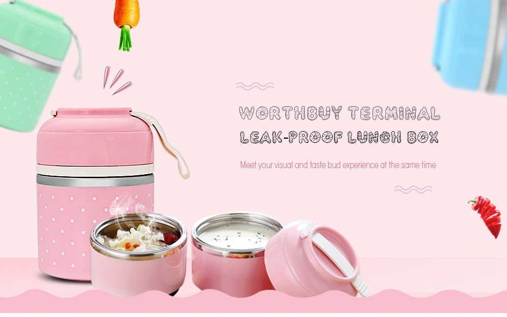 Worthbuy Lunch Box Thermal Leak-proof Stainless Steel