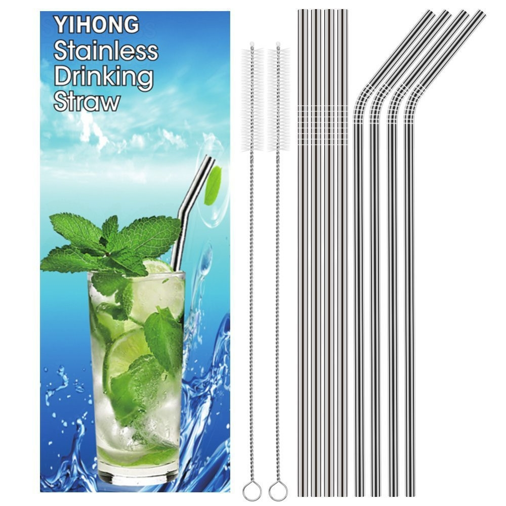 AEOFUN Stainless Steel Straws Reusable with Cleaning Brushes 10PCS / Set