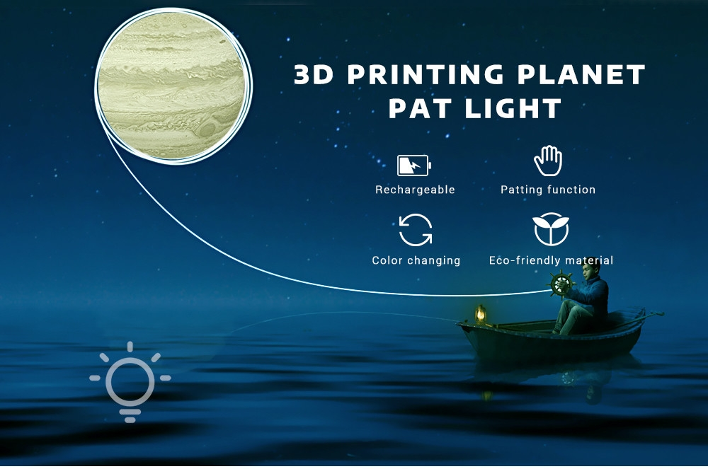 3D Printing Planet Light Pat Night Lamp 3 Colors for Bedroom Office