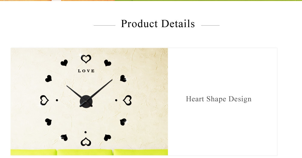 M.Sparkling Heart Shape Sticker DIY Digital Wall Clock