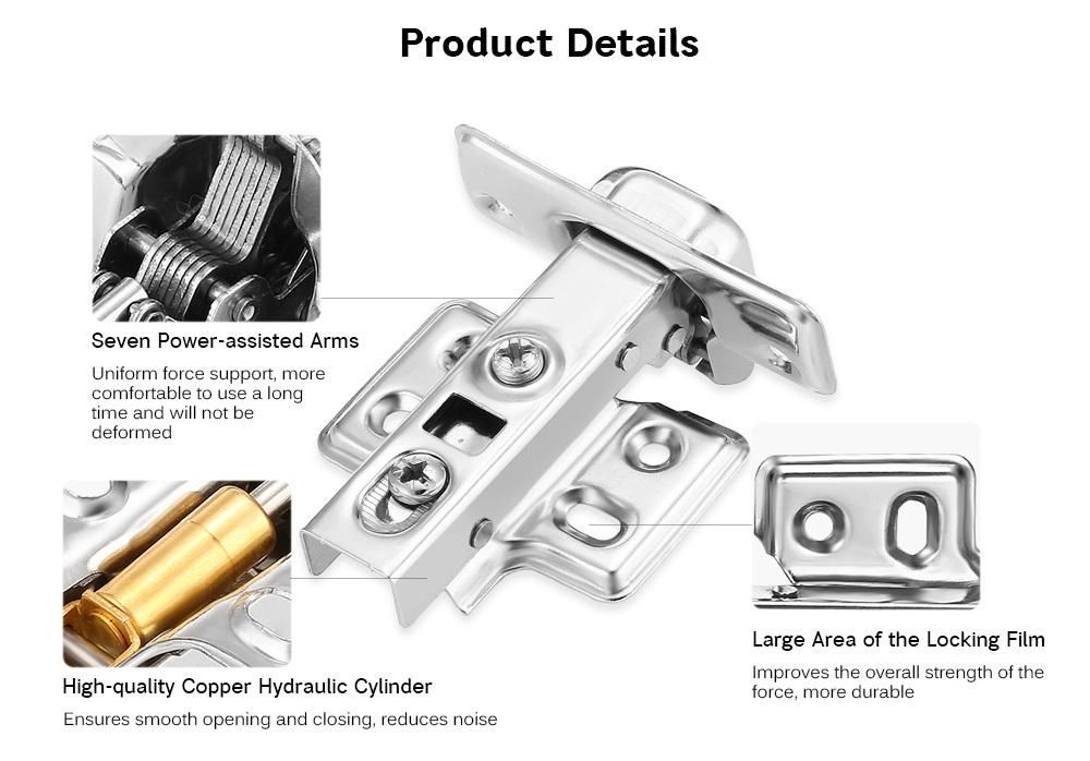 LADE 35mm Full Overlay Stainless Steel Door Hydraulic Hinge Damper Buffer