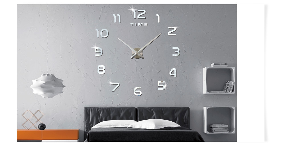 M.Sparkling 3D Mirror Effect Stickers Number Figure DIY Wall Clock