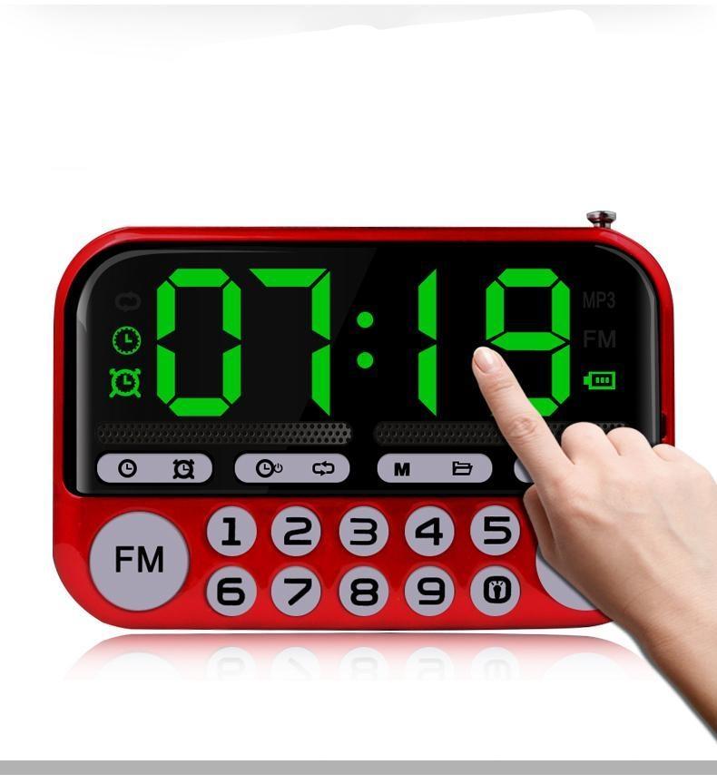 Portable Speakers Outdoor Dancing Speaker TF card USB FM Radio Music Surround MP3 Player Big Button Luminous Alarm Clock