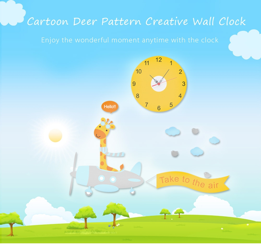 Lovely Creative Cartoon Deer Pattern Removable Wall Clock Sticker Decal for Living Room Bedroom